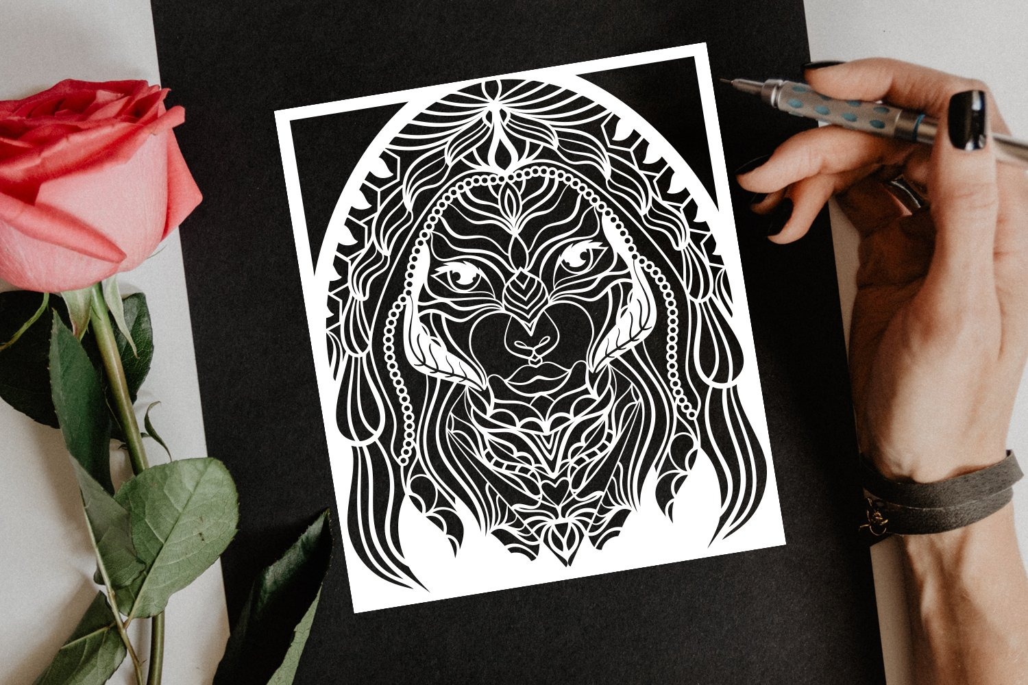 Beautiful Women Portrait Papercut Frame, Magician Decoration example image 4