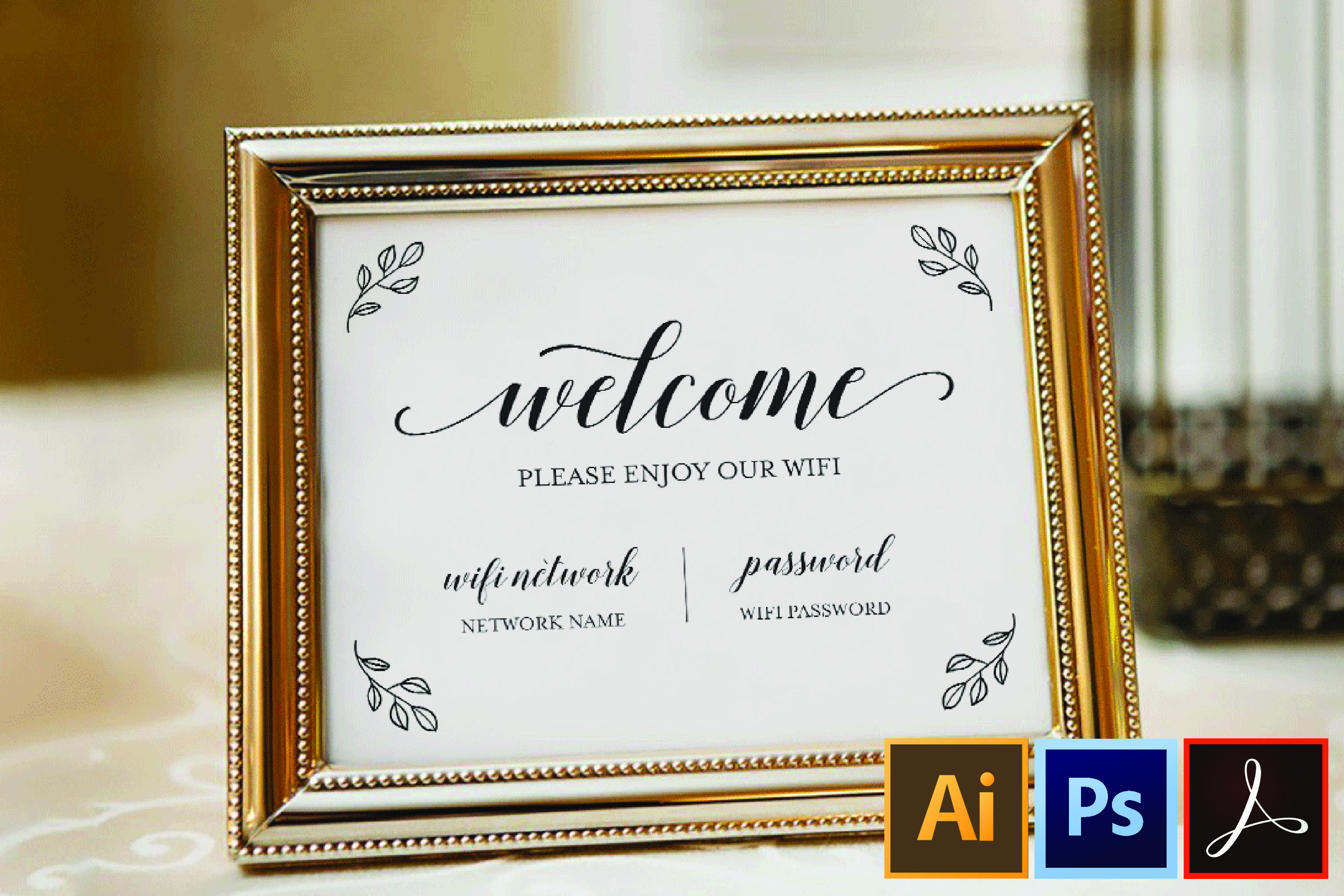 Wifi Password Printable Wifi Sign Template Welcome Guest 362882 Card And Invites Design Bundles