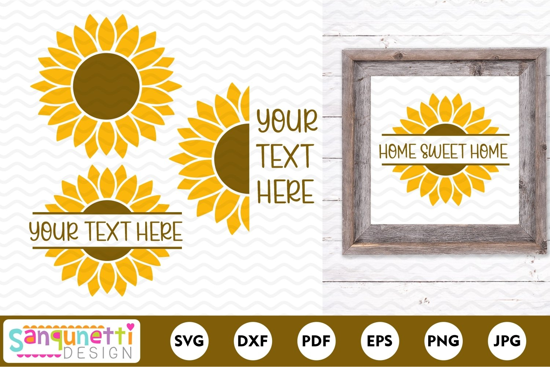 Sunflowers SVG, split sunflower design, half sunflower example image 1