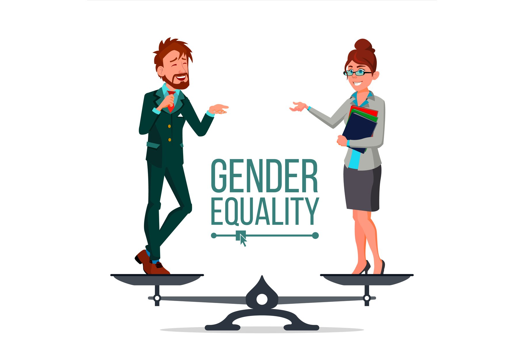 Gender Equality Vector. Man And Woman. Standing On Scales. example image 1