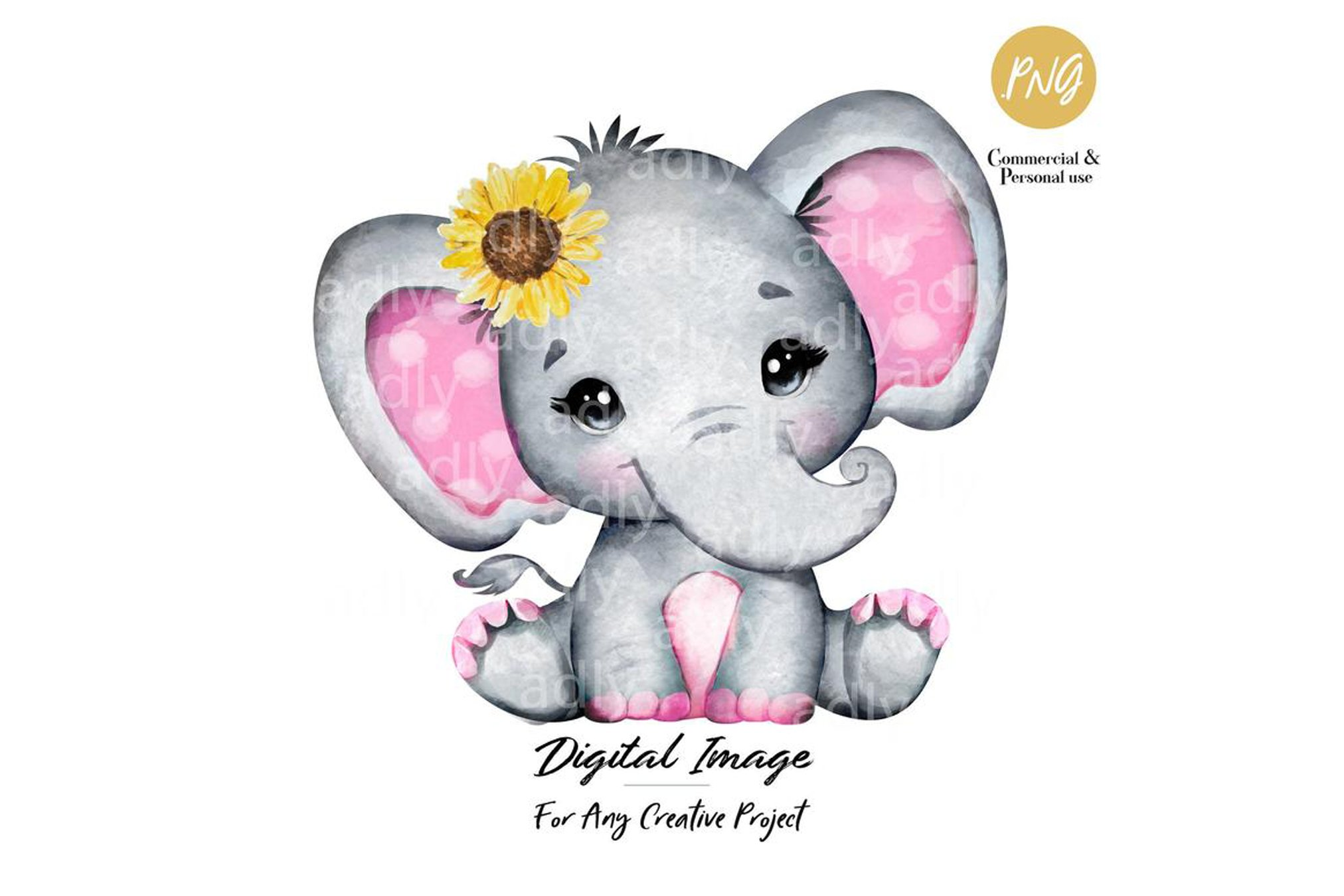 Pink and gray baby elephant with sunflower, clip art ...