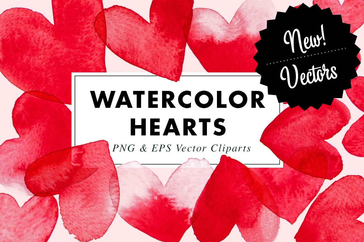 15 Watercolor Heart Illustrations Clipart| PNG & Vector EPS example image 1