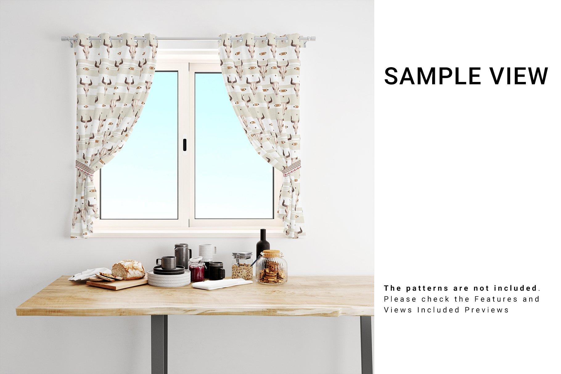 Kitchen Short Curtains Mockup Set example image 5