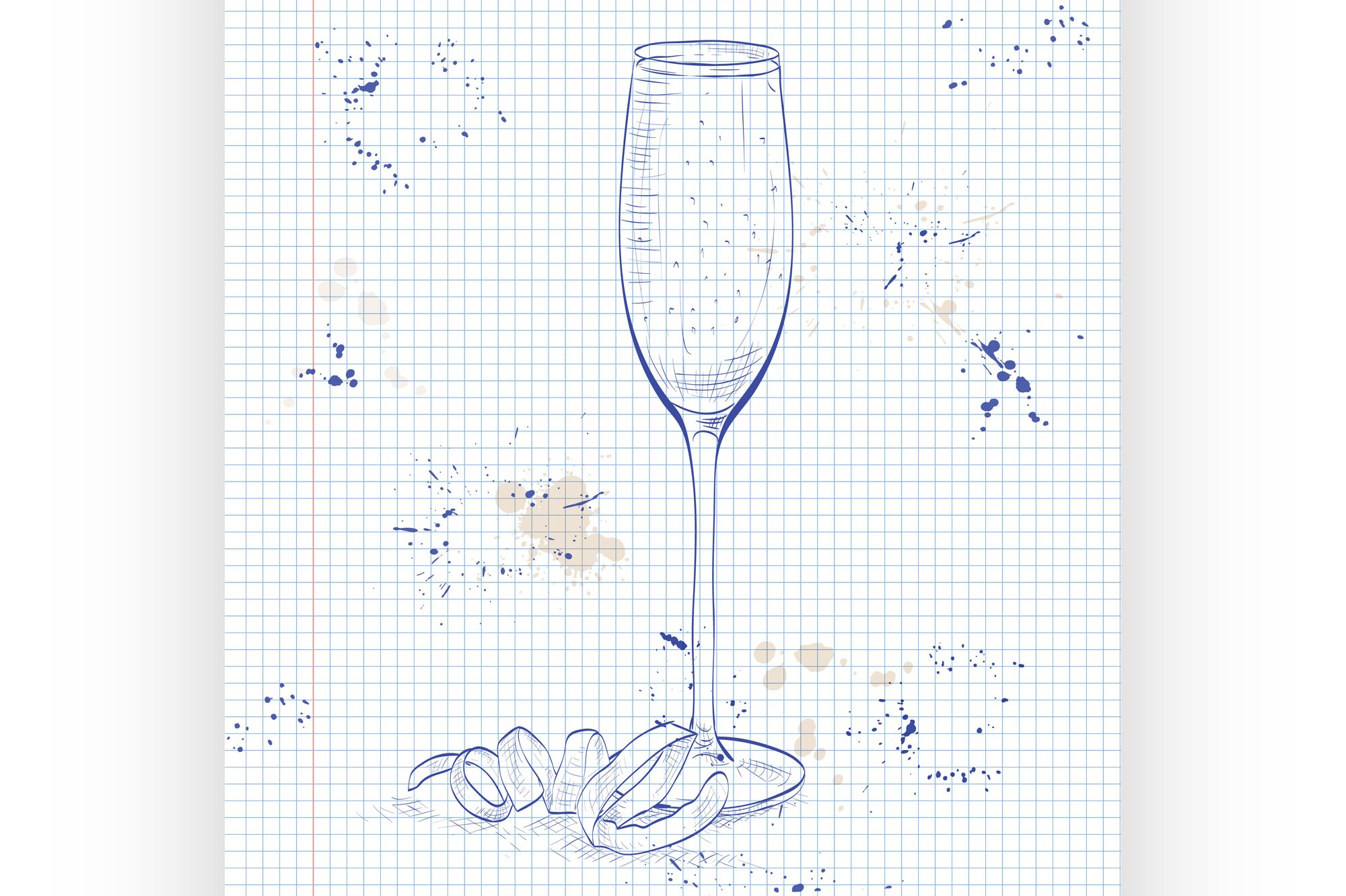 Cocktail French 75 on a notebook page example image 1