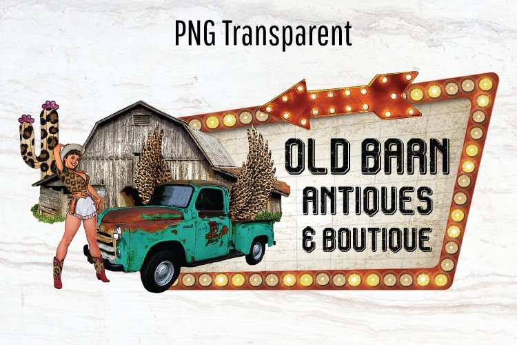 Barn Logo, Vintage Truck, Leopard, Cowgirl, cactus, template example image 1