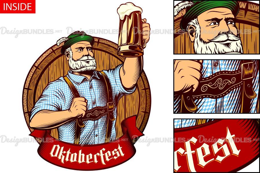 Download Vector Bavarian Oktoberfest Man Beer Glass Barrel Foam Lager 113005 Illustrations Design Bundles