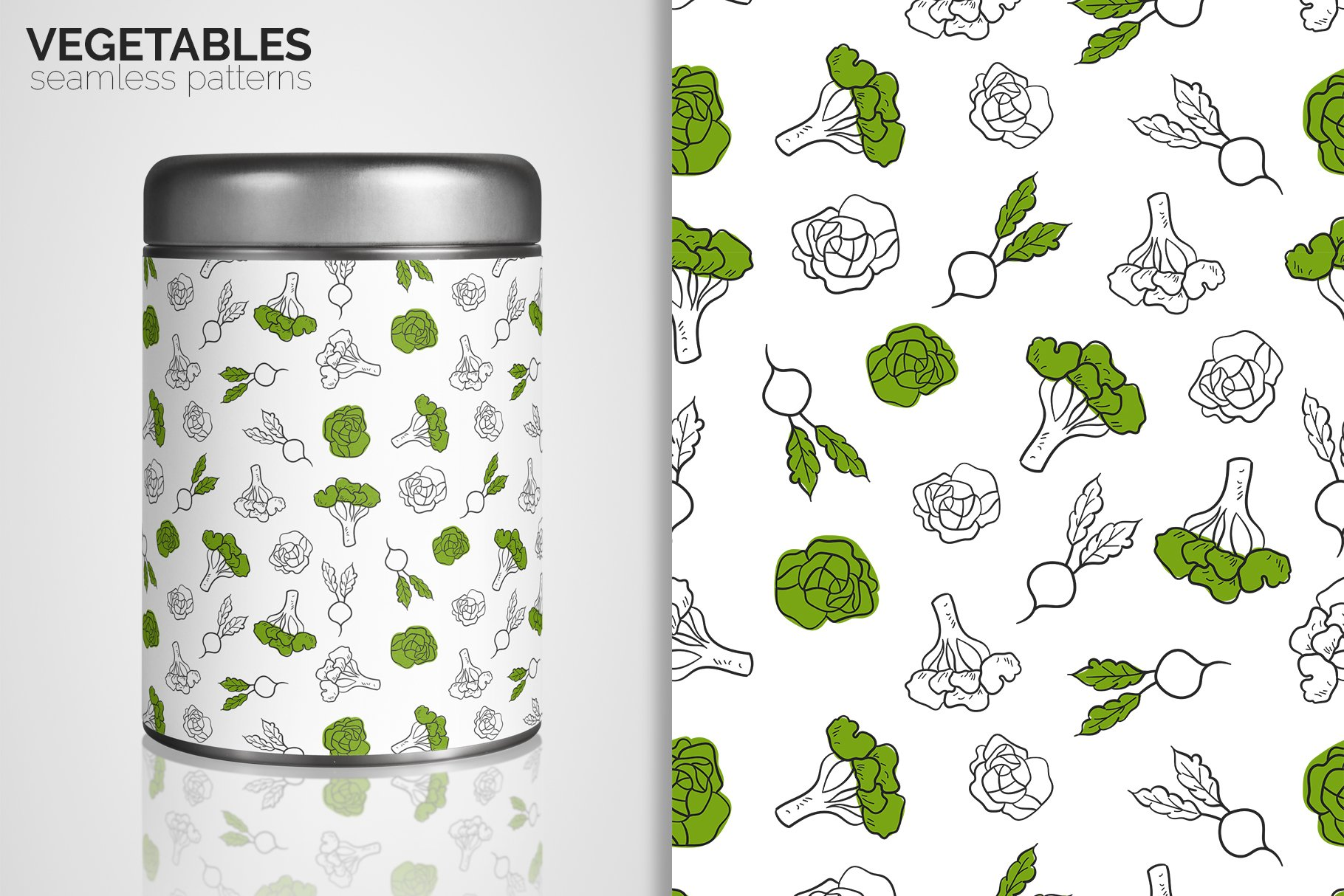 Vegetables Seamless Patterns example image 4