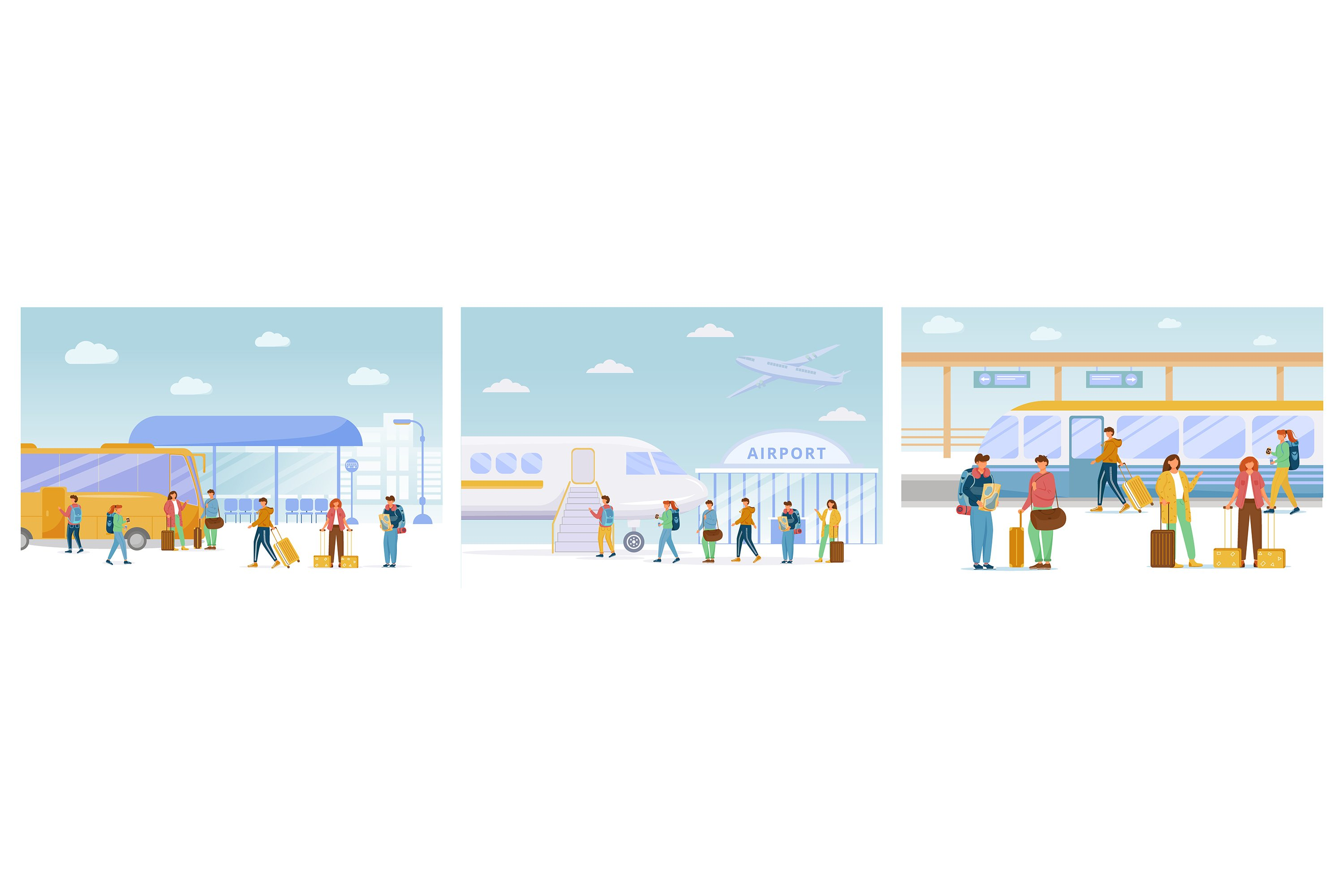 Traveling flat vector illustrations set example image 1