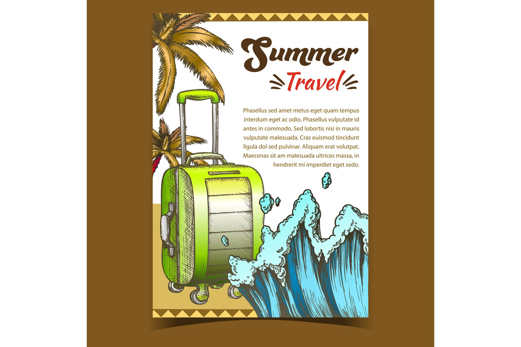 Summer Travel Suitcase On Wheels Poster Vector example image 1