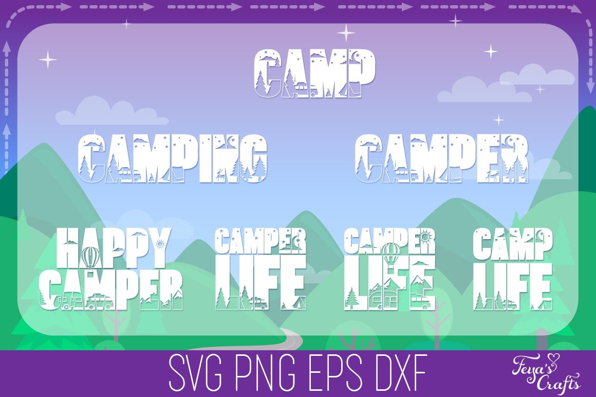 Camping SVG Alphabet, Camper SVG, Camping SVG Files Pack example image 6