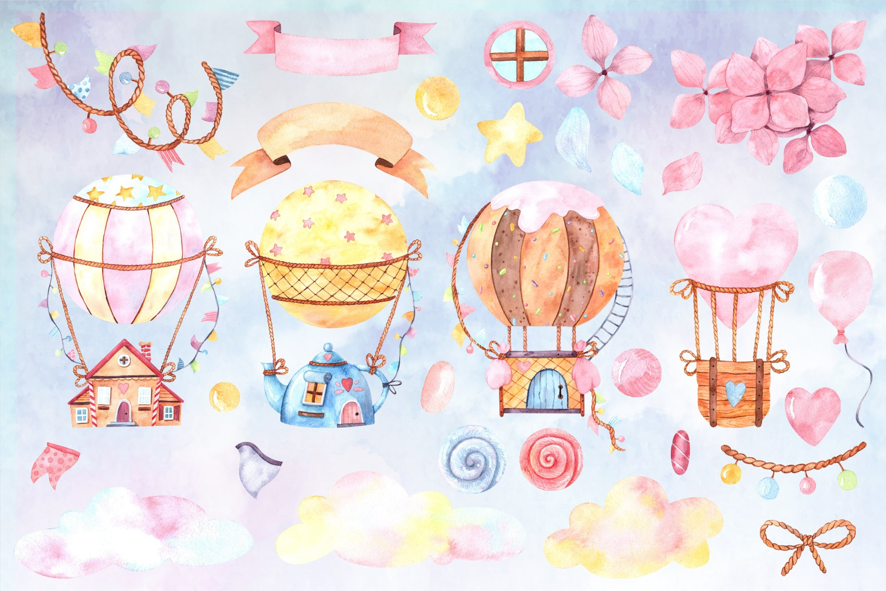 Cute hot air balloons watercolor set example image 2