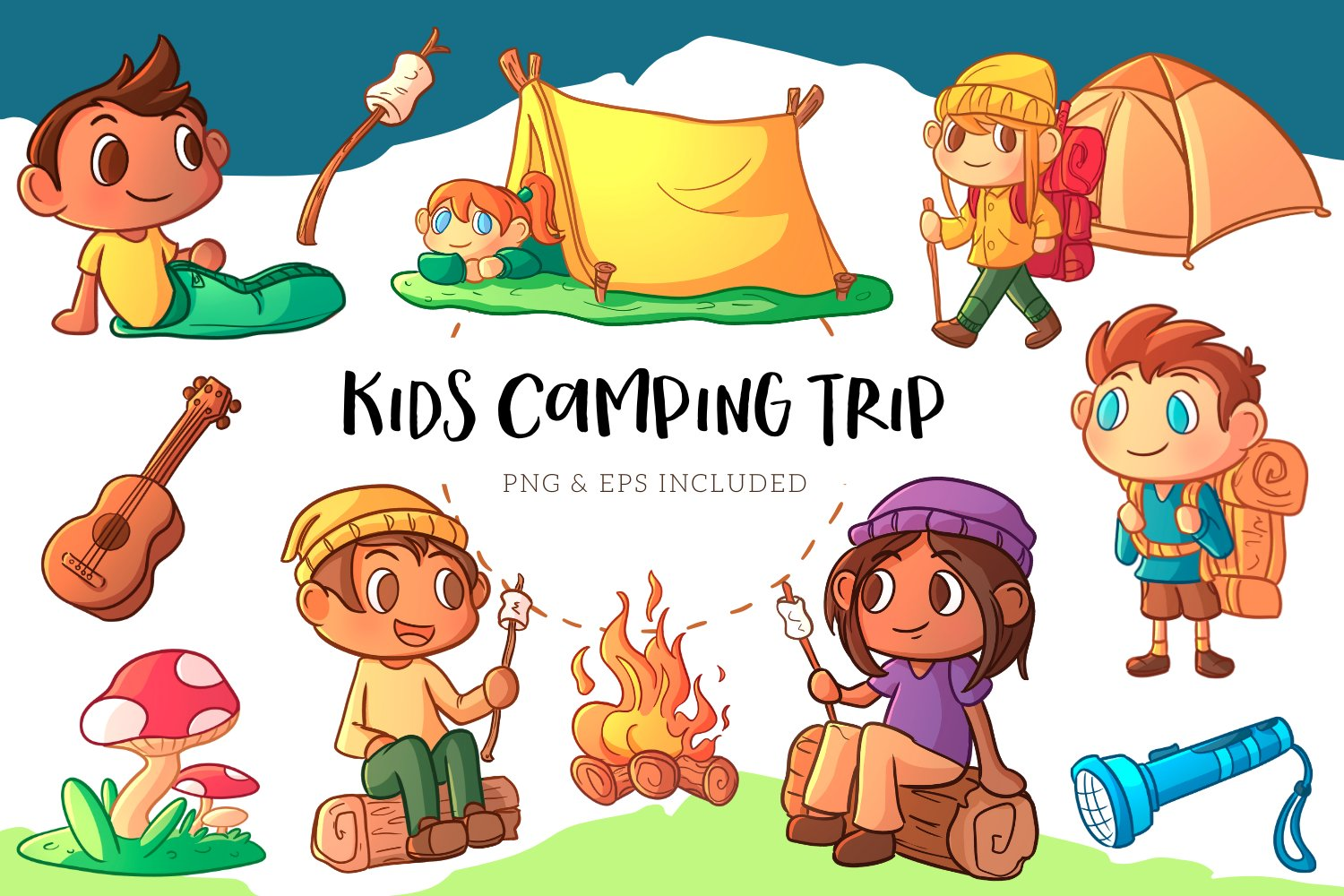 Kids Camping Trip Illustrations example image 1