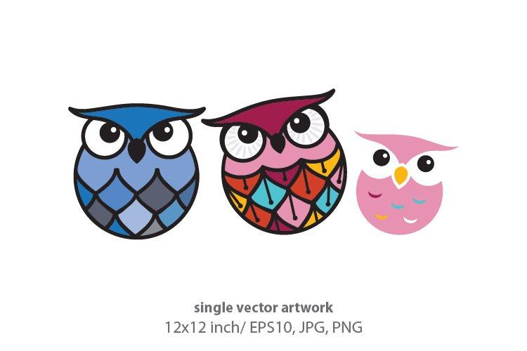 cute little owls - single vector artwork example image 1