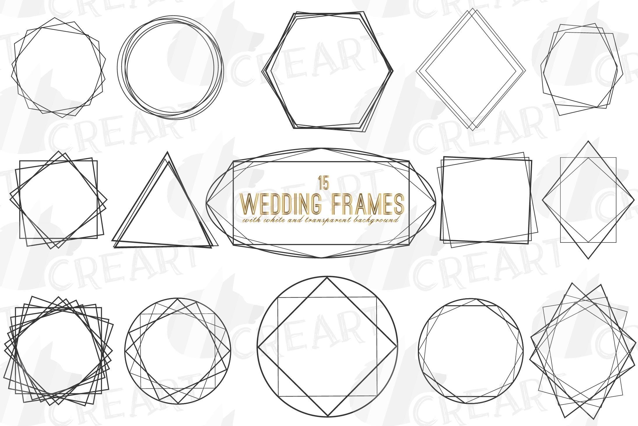 Download Geometric Lineal Black Frames Decor Clip Art Wedding Border 365392 Illustrations Design Bundles
