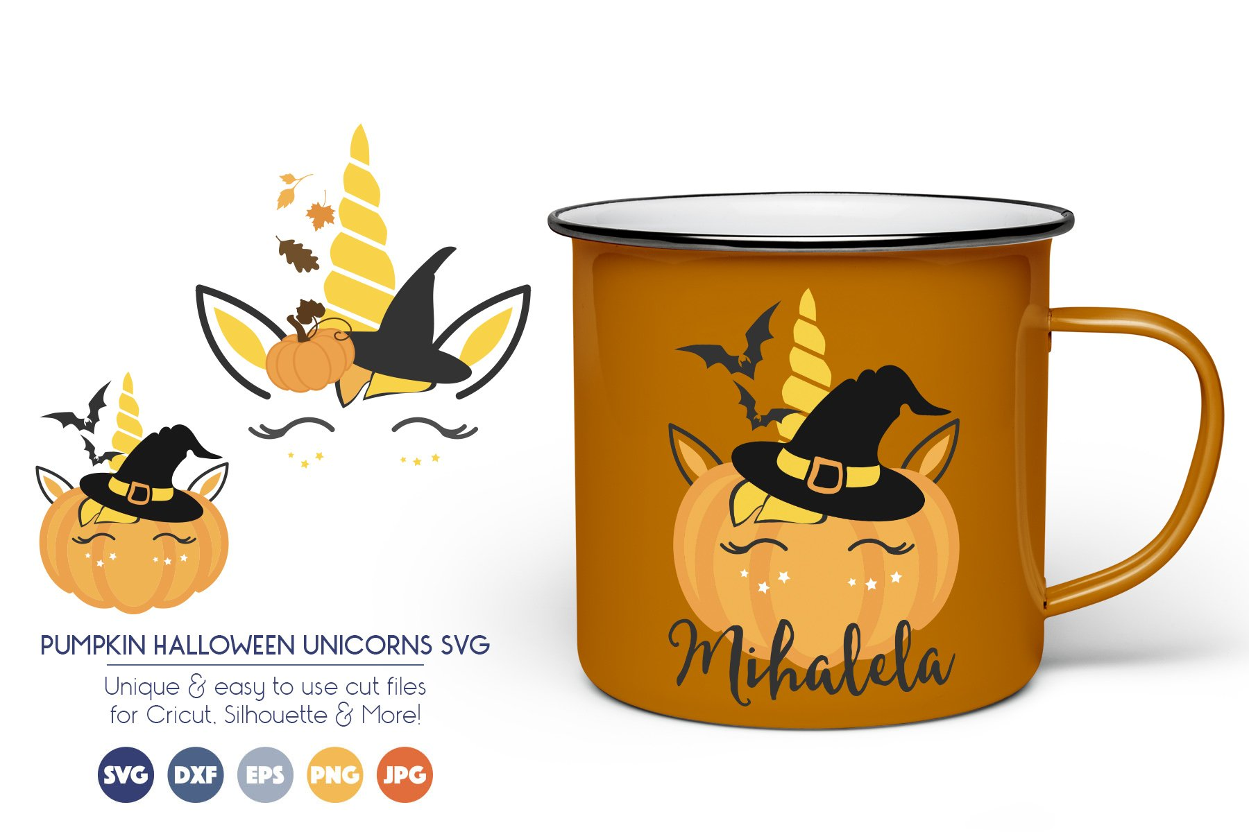 Pumpkin Halloween Unicorn SVG Cut Files example image 1