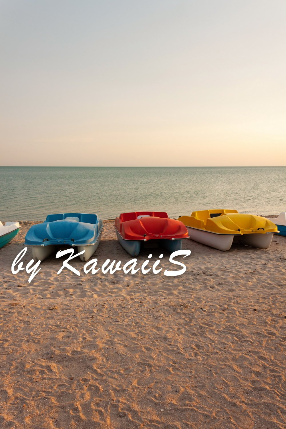 Colorful catamarans pedal boats on the sunset on a sea beach example image 7