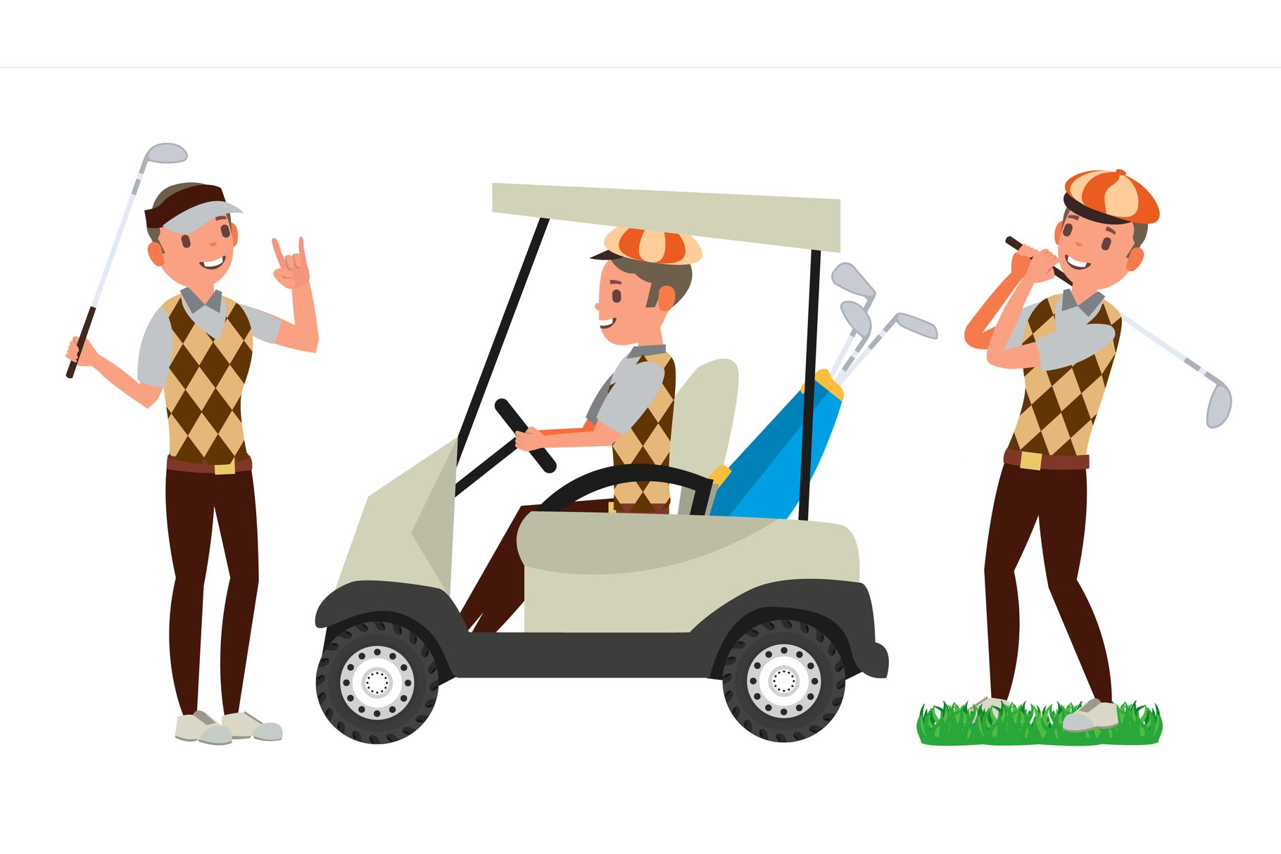 Golf Player Male Vector. Hitting Golf Ball. Playing Man. example image 1
