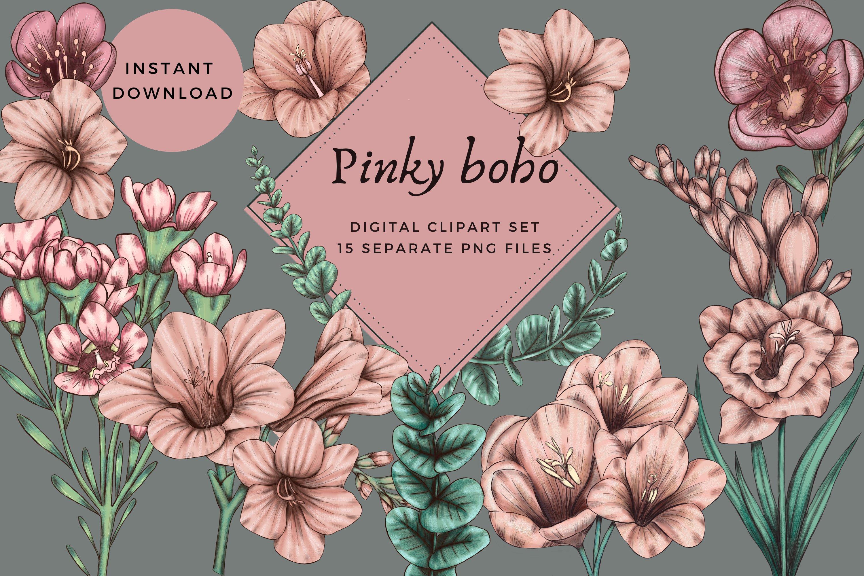Pink Boho Flowers With Eucaliptus Leaves Digital Png Files 848615 Elements Design Bundles