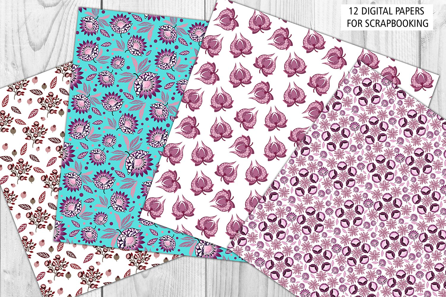Turquoise and Succulent pink digital papers example image 4