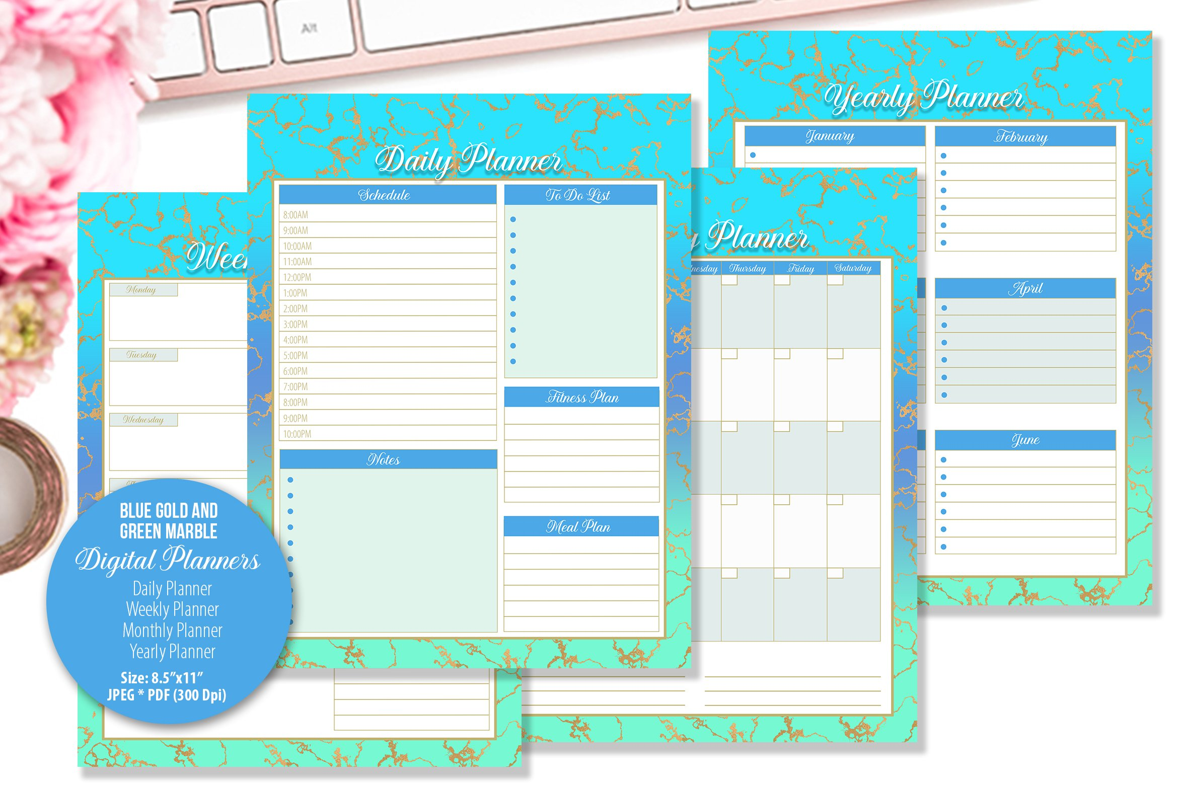 Blue Gold and Green Marble Digital Planner example image 1