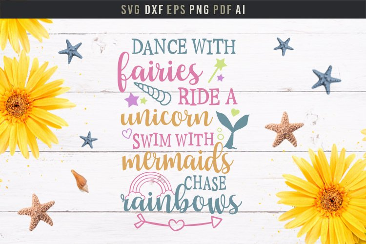 Dance with fairies, ride a unicorn, cute baby room quote svg example image 3