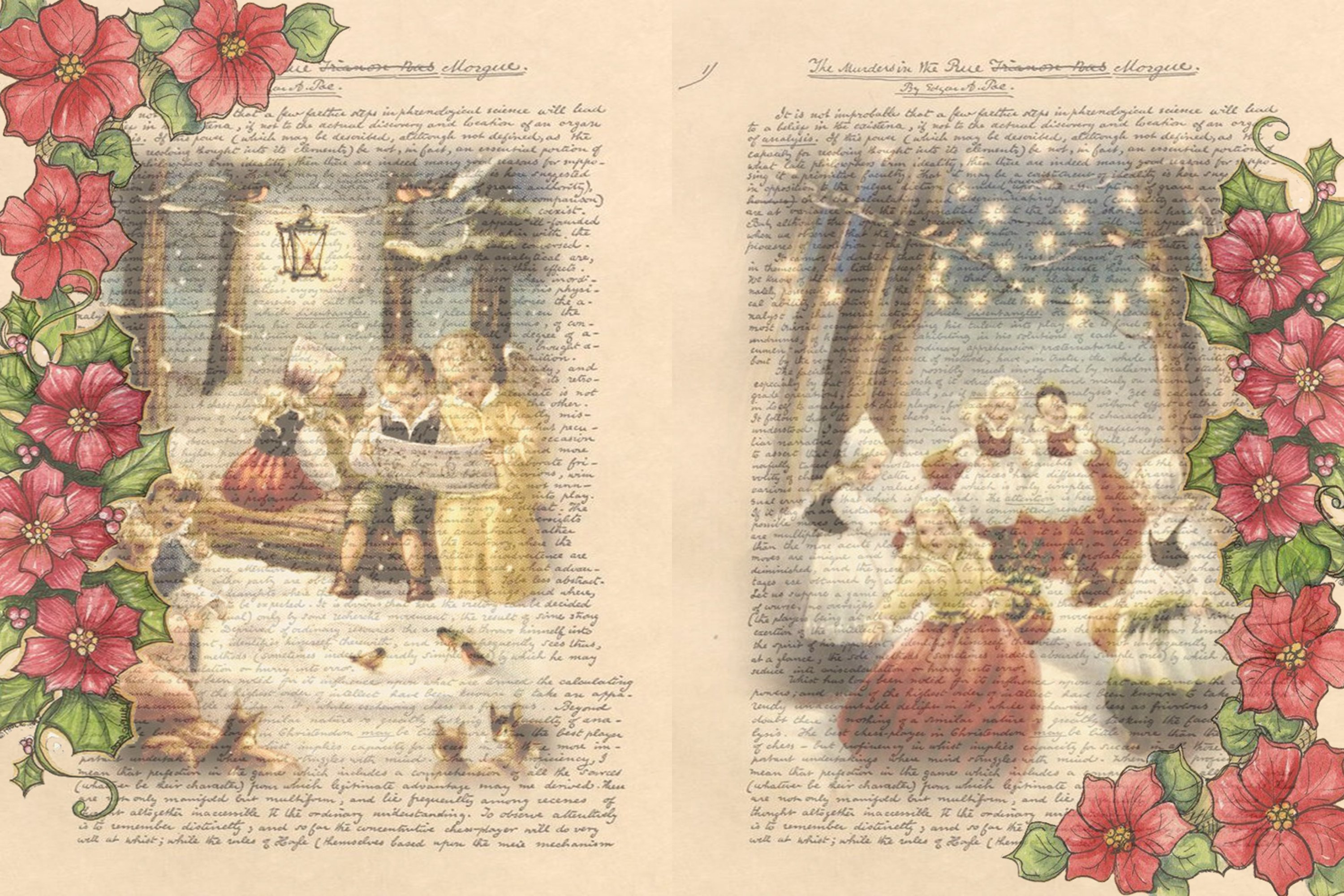 Victorian Christmas Backgrounds and Clipart JPEG PNG PDF example image 9