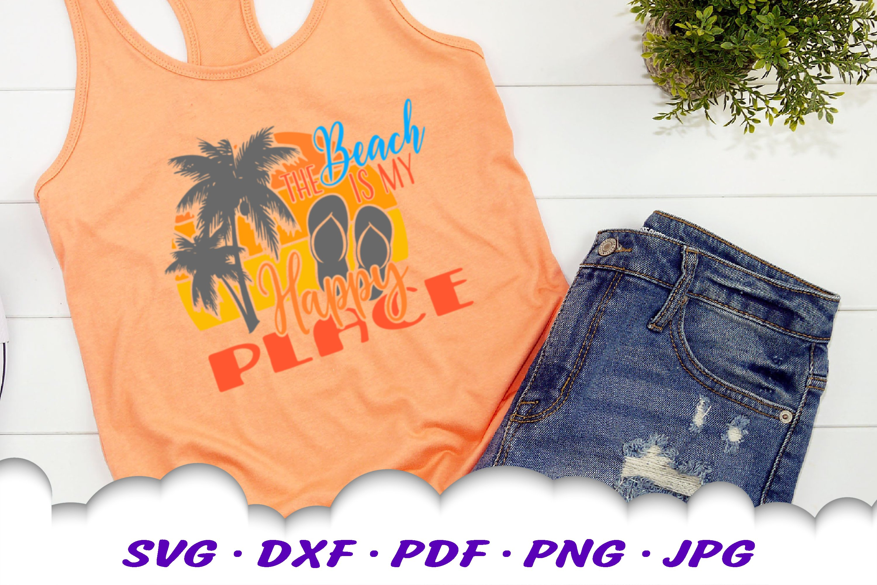 The Beach Is My Happy Place Sunset SVG Flip Flops Cut Files example image 4