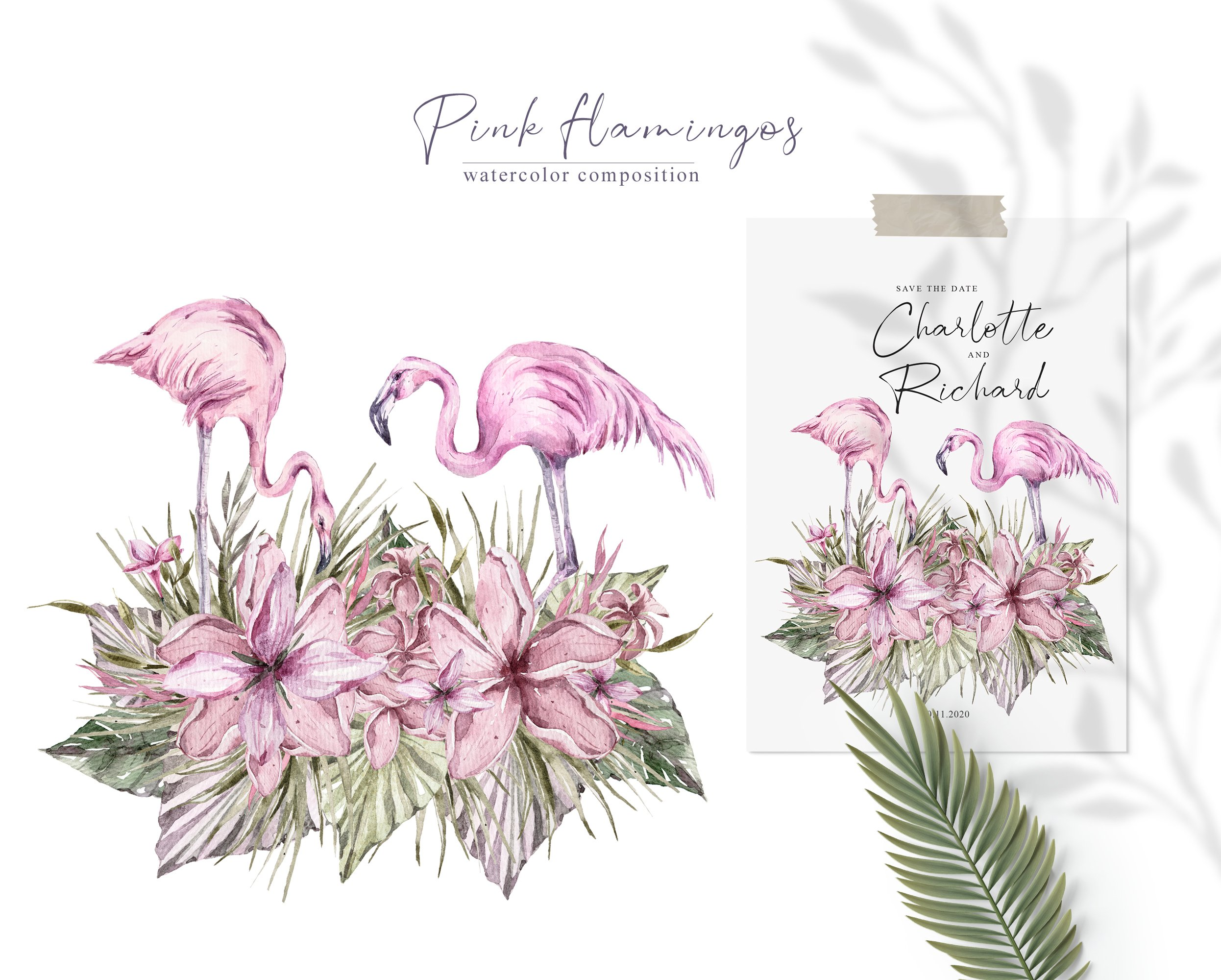 Watercolor hand painted tropical flamingo clipart example image 2