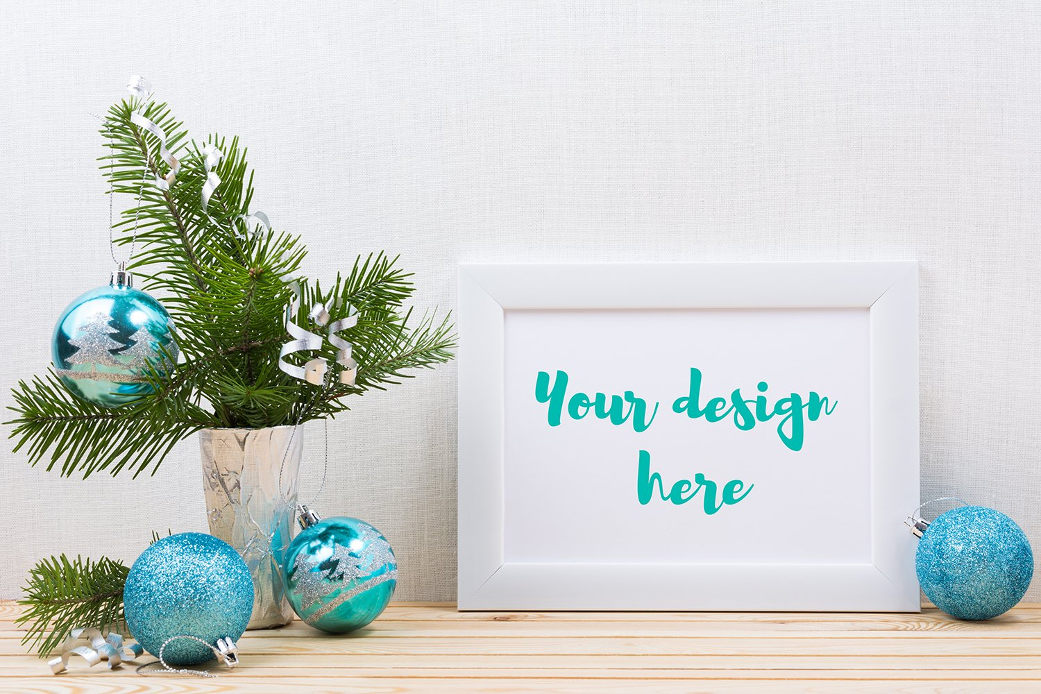 White landscape frame mockup with blue Christmas ornaments example image 1