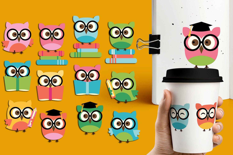 Panda Giraffe Owl clip art illustrations bundle example image 3