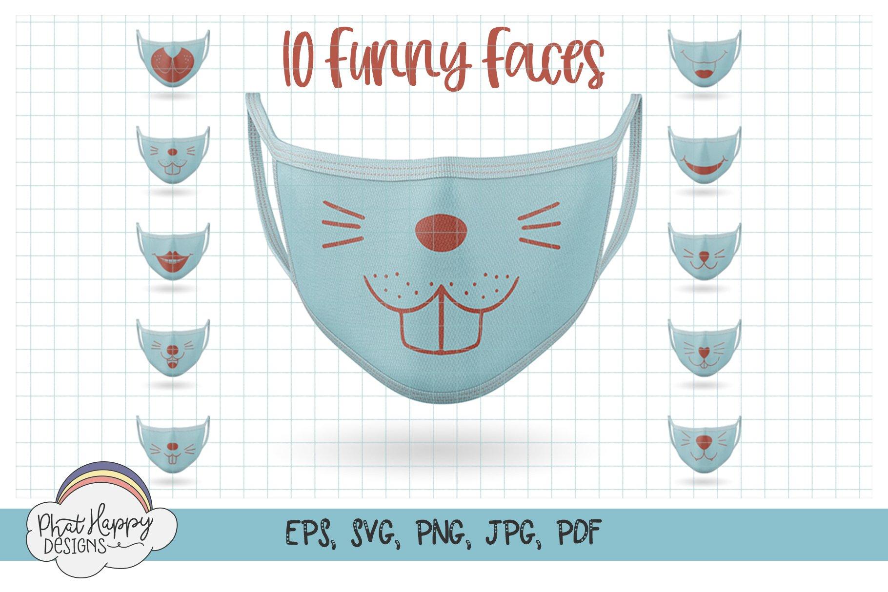 Funny Faces for Masks 40 Design Bundle - SVG Cut Files example image 2
