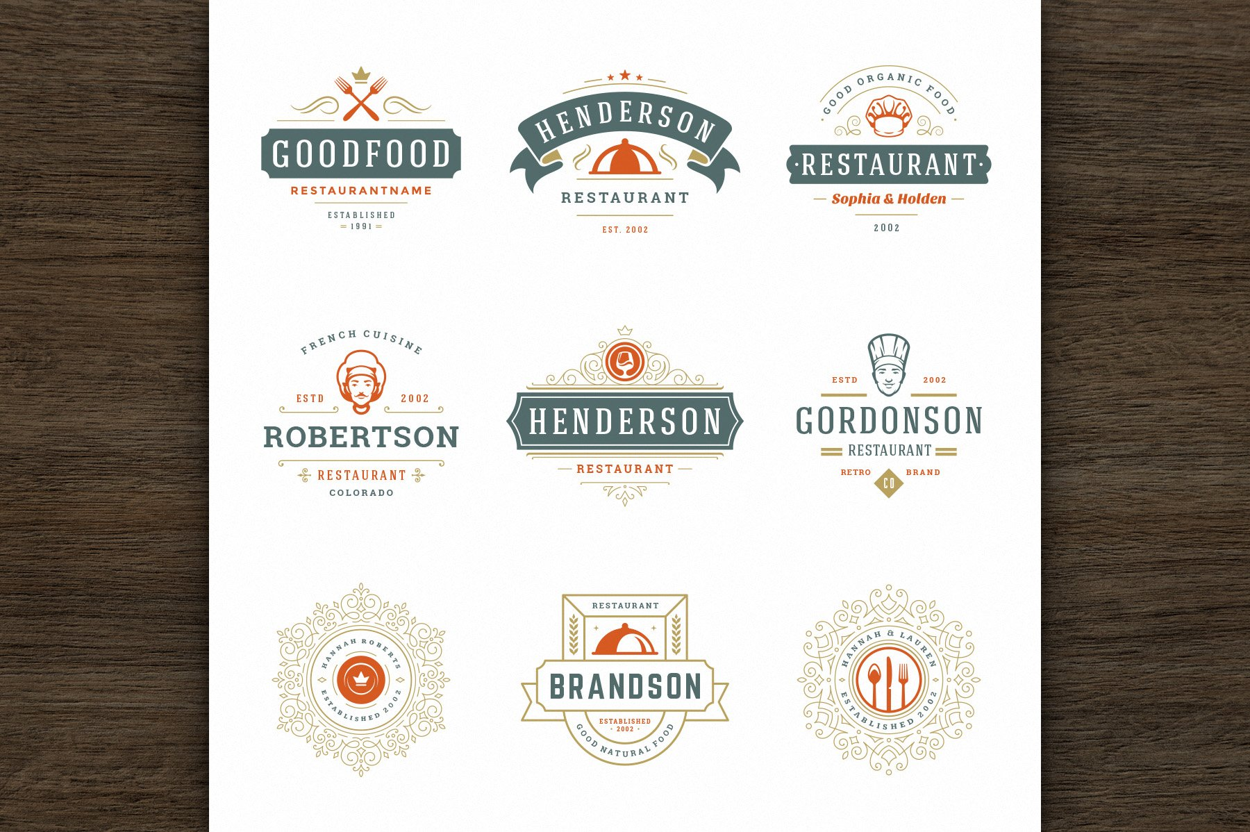 36 Restaurant Logos and Badges example image 8