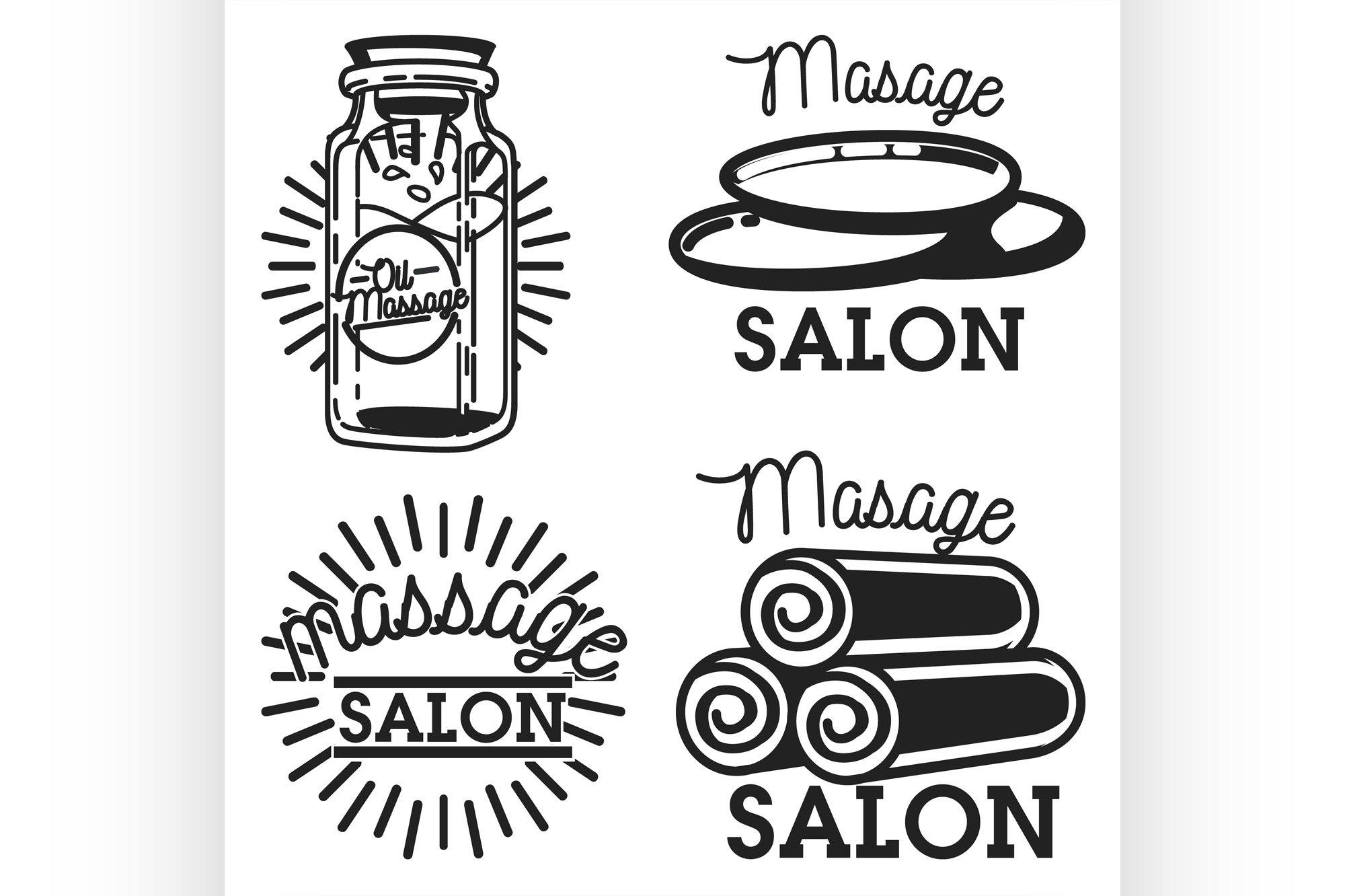 Color vintage massage salon emblems example image 1