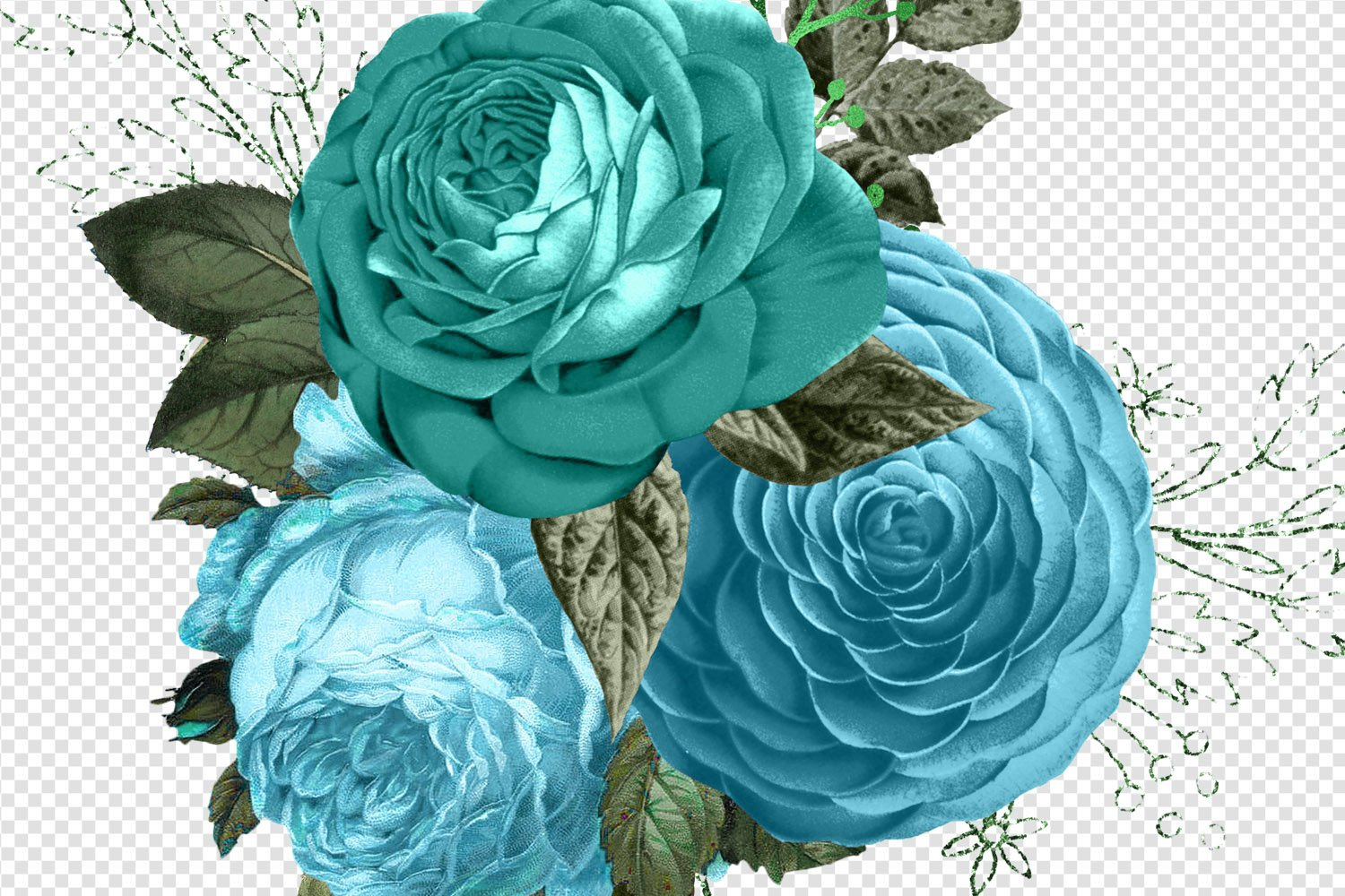 Turquoise Bouquets Clipart example image 2