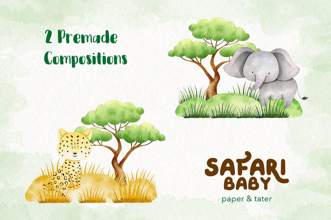 Watercolor Safari Baby Animals Clipart Graphics example image 4