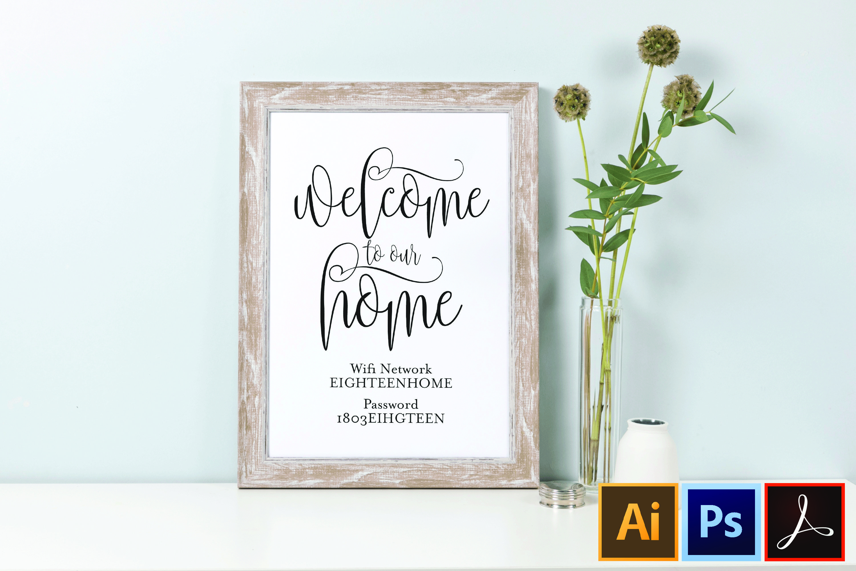 Printable Wifi Password Sign Guest Room Wifi Sign Wifi 356148 Card And Invites Design Bundles
