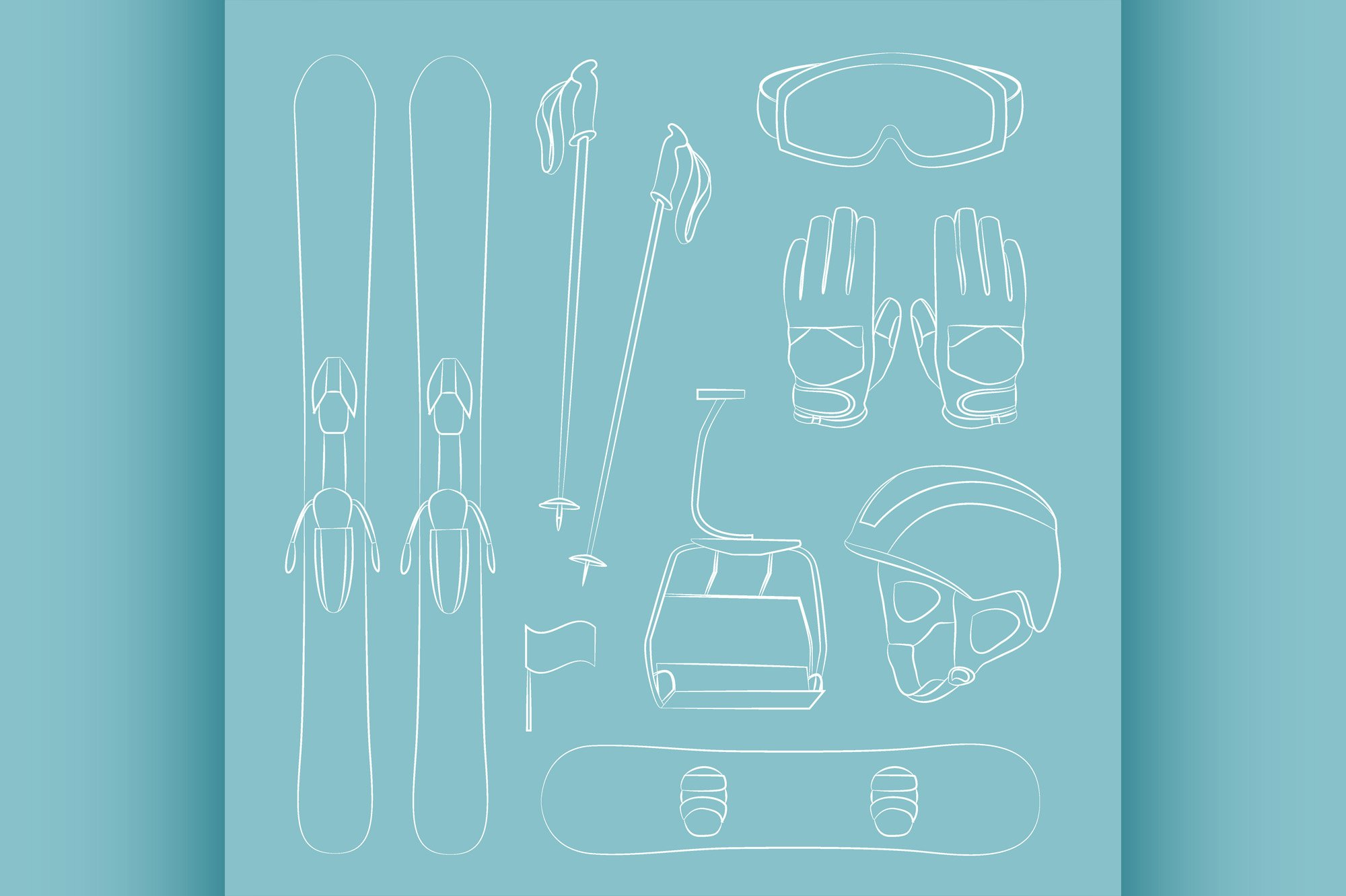 Vector set of Ski and Snowboard equipment icons example image 1