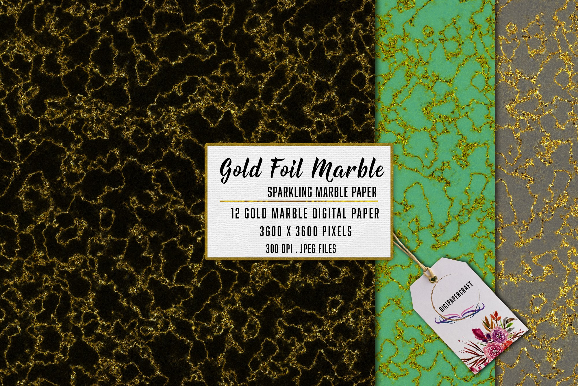 Gold Marble digital paper, Sparkling marble backgrounds example image 4