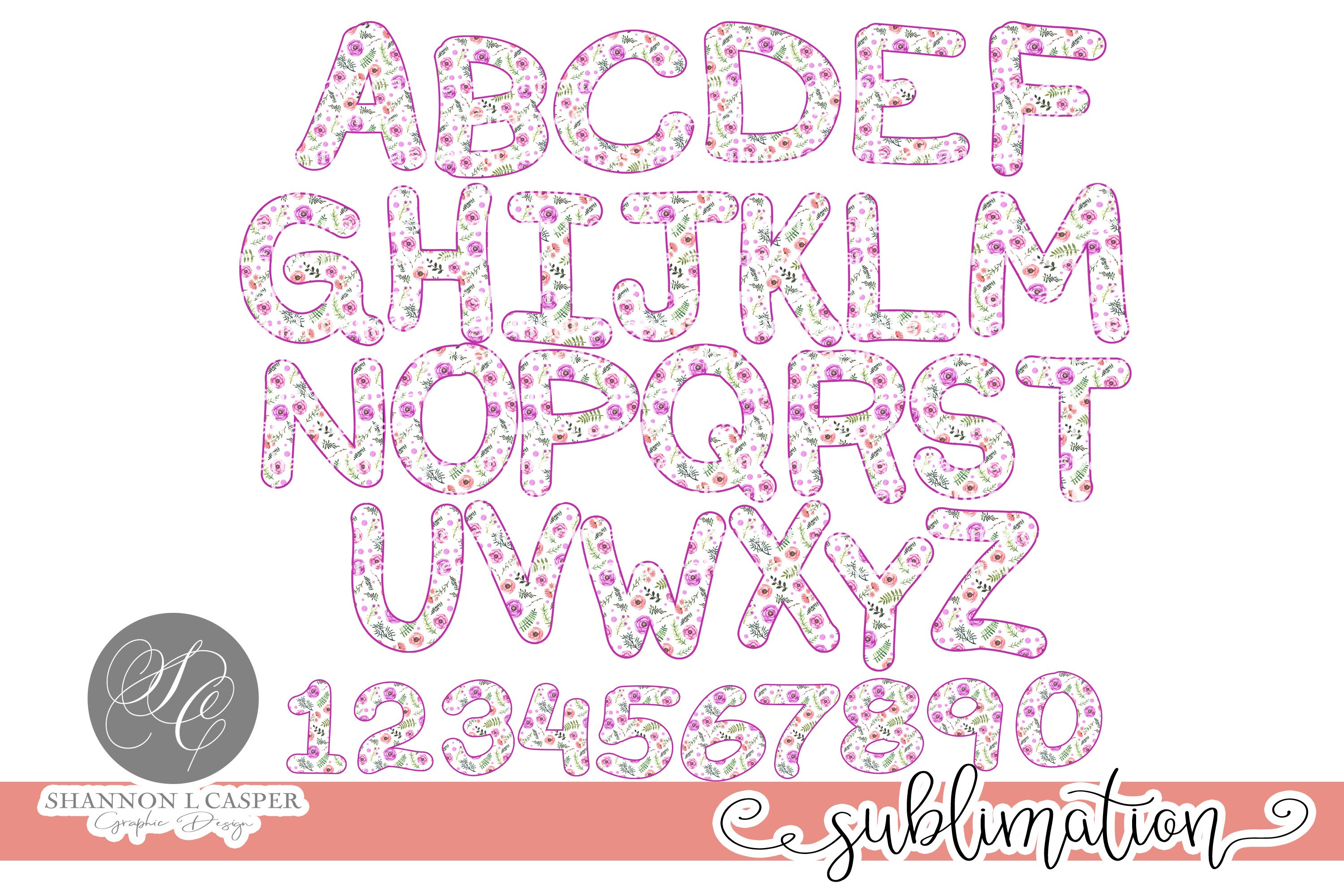 Purple Floral Chunky Font PNG example image 3
