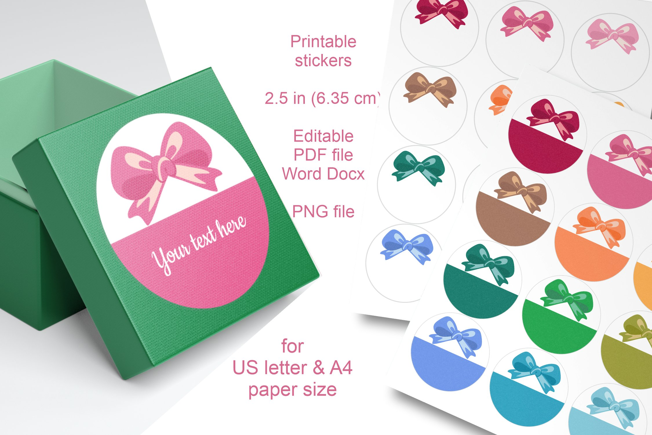 Assorted Colors Bow Round Labels 2.5 in A4 US Editable Text example image 5