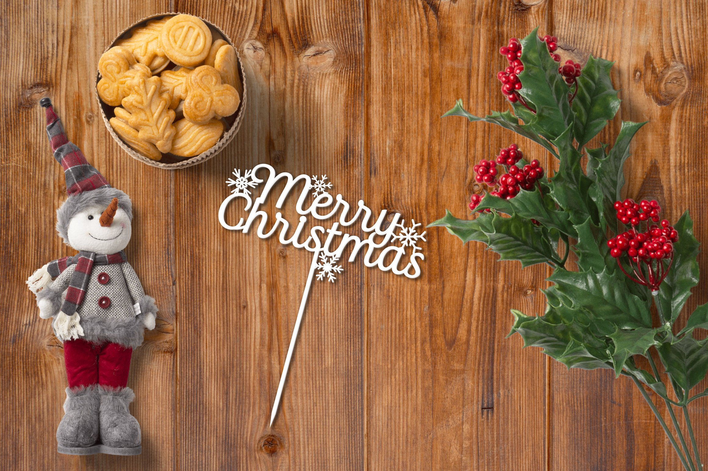 Cake topper 'Merry Christmas' CNC laser cutting template DXF example image 1