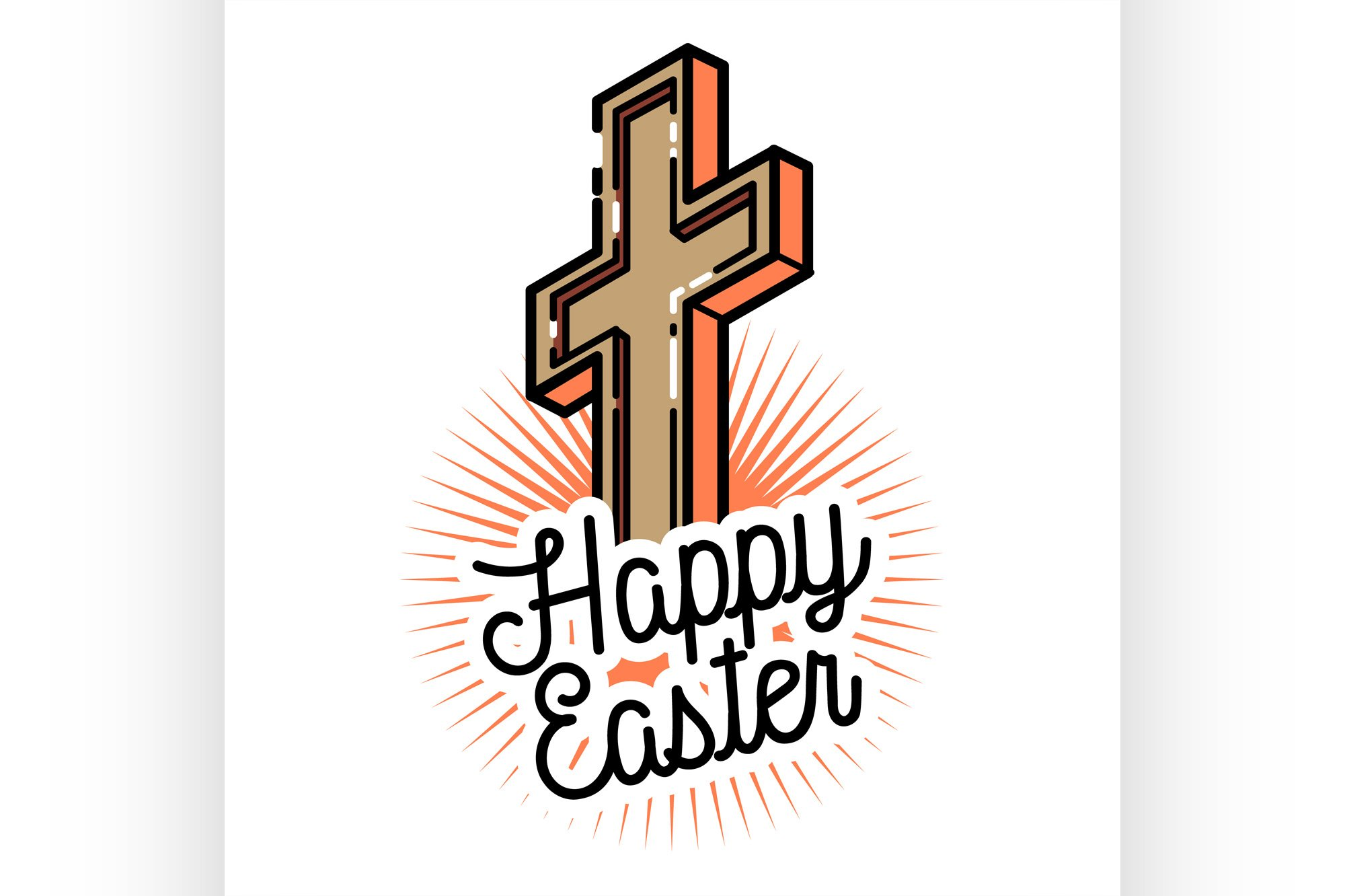 Color vintage easter emblem example image 1
