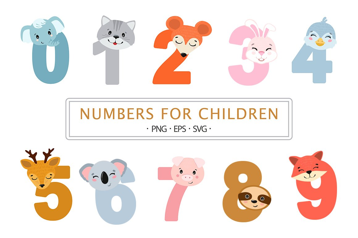 Numbers children SVG | numbers clipart | colorful number