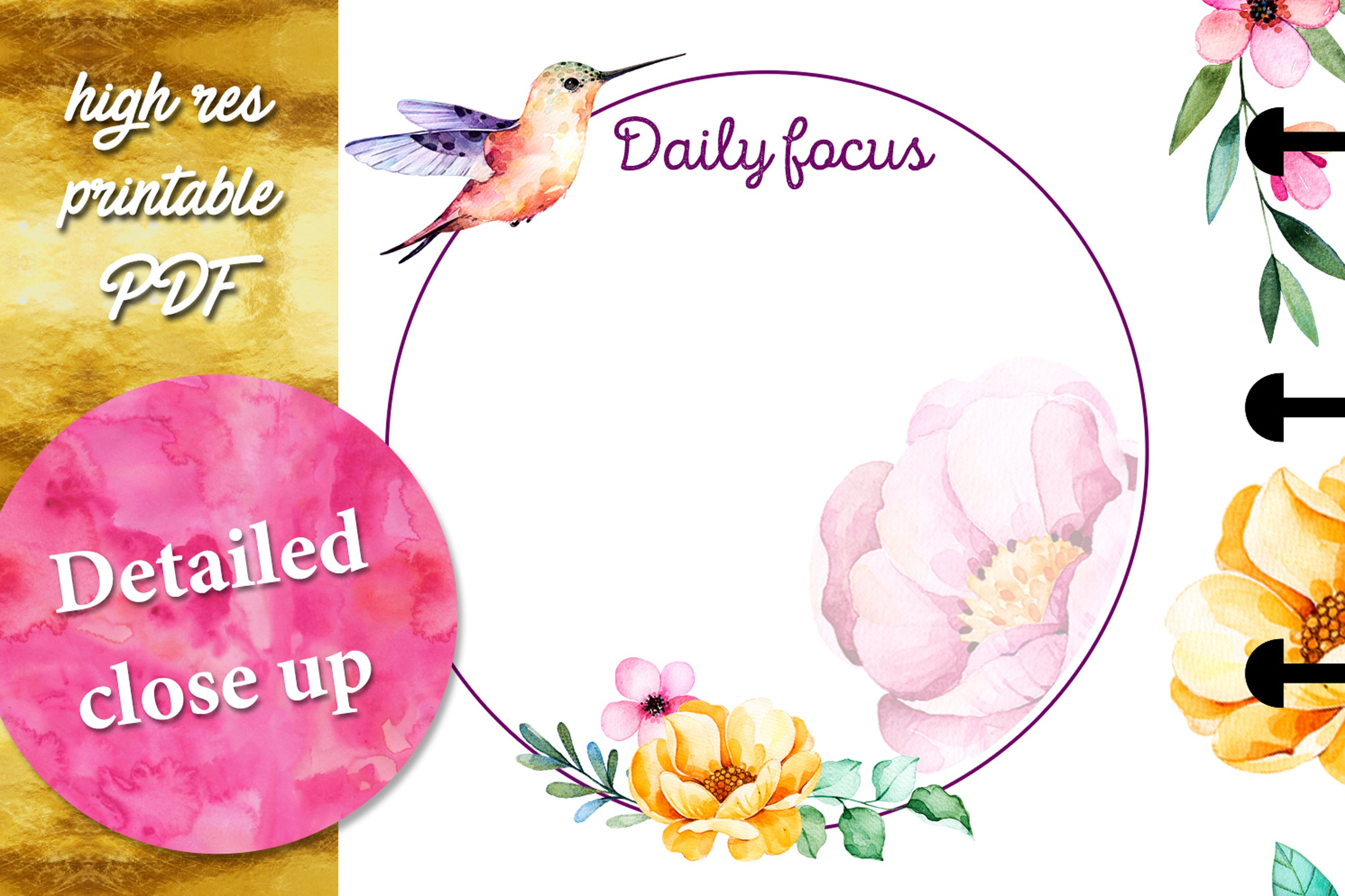 PLANNER printables- hummingbird collection - 17 pdf example image 5