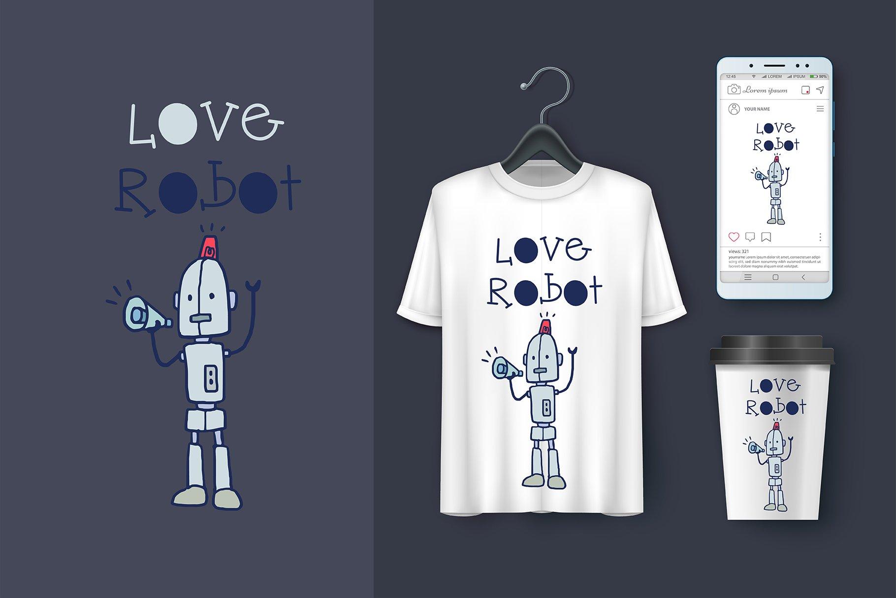 Hello Robot Handwritten- cute kid font Kawaii style! example image 5