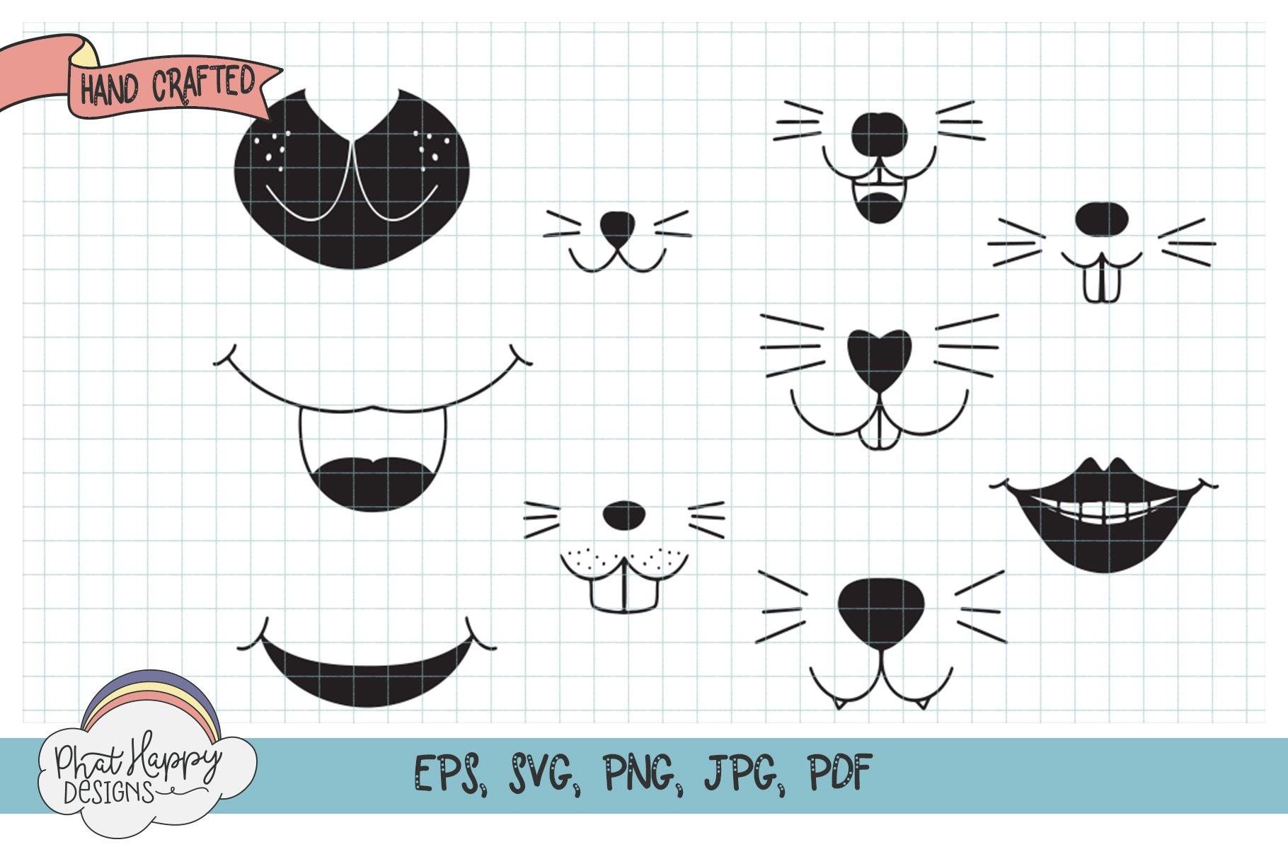 Funny Faces for Masks 40 Design Bundle - SVG Cut Files example image 3