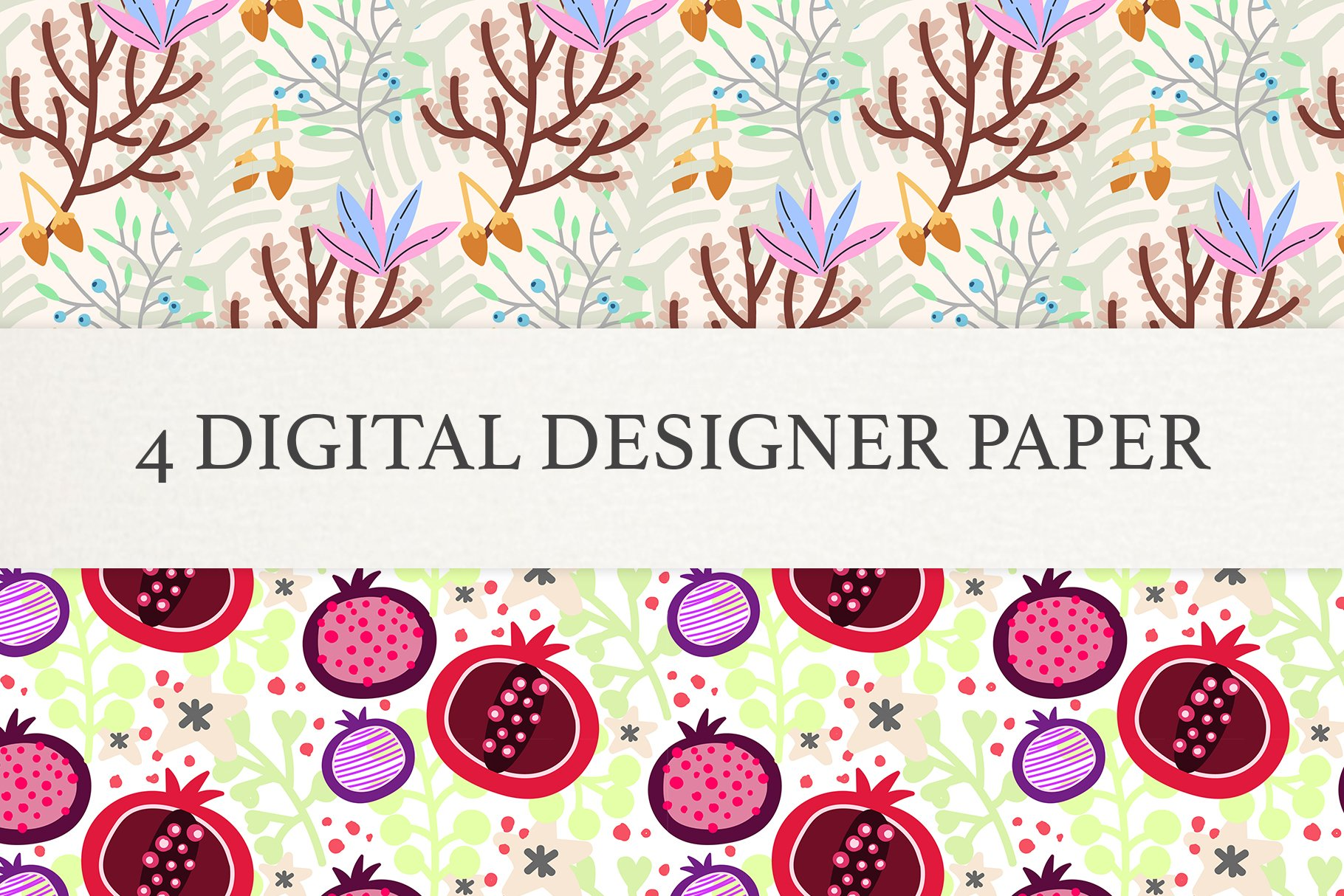 Floral Digital Paper, Scrapbook Papers, Seamless Patterns example image 4
