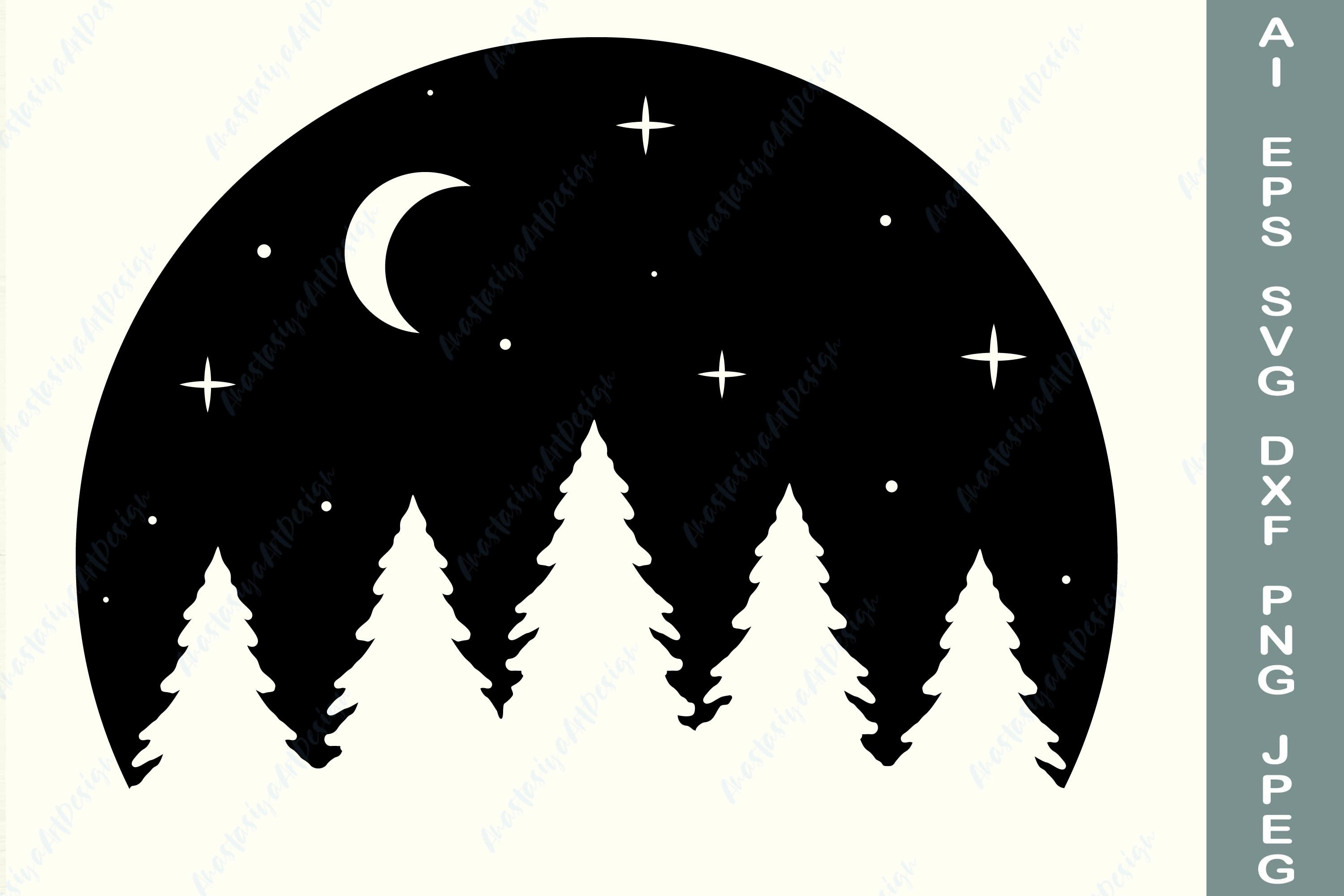 Moon and forest svg, Adventure shirt svg, Travel dxf example image 2