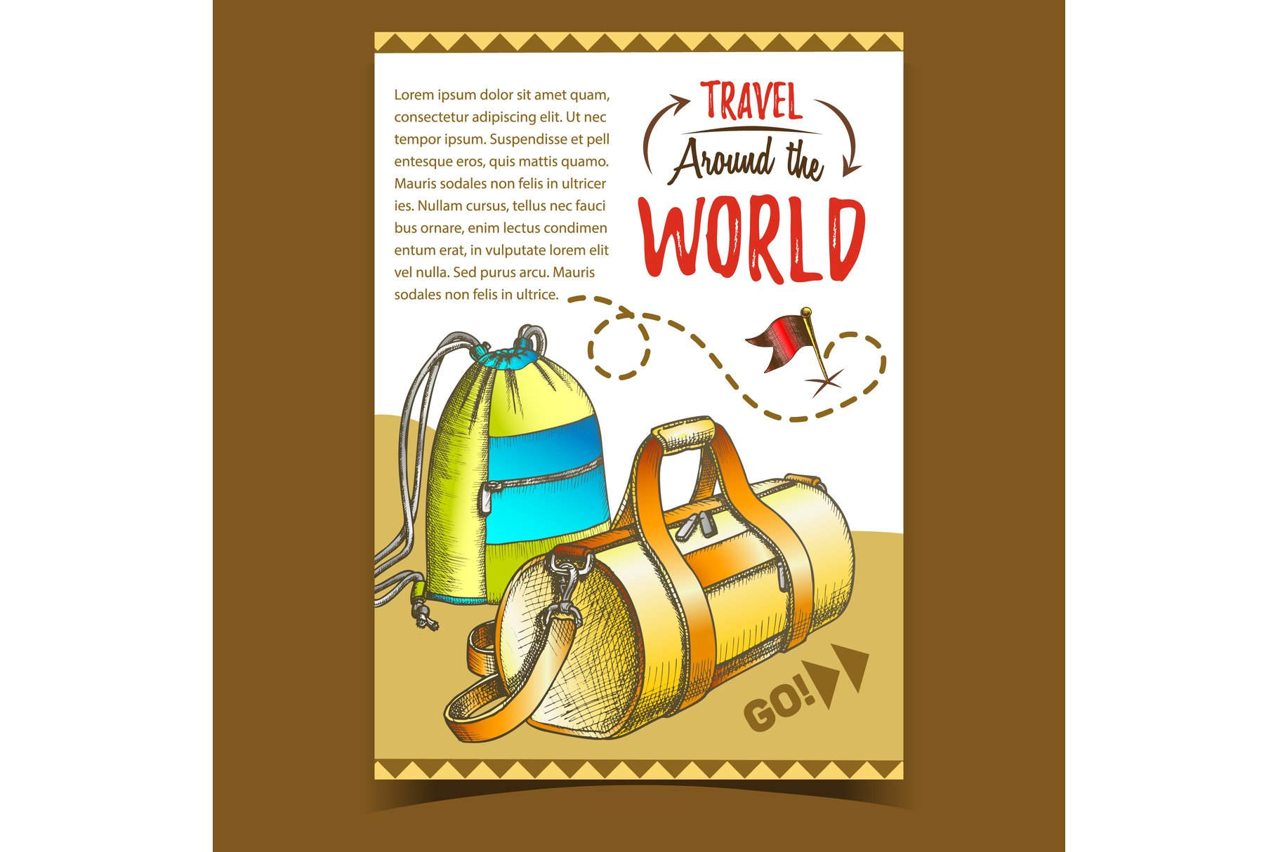 Travel World Advertising Poster With Bags Vector example image 1