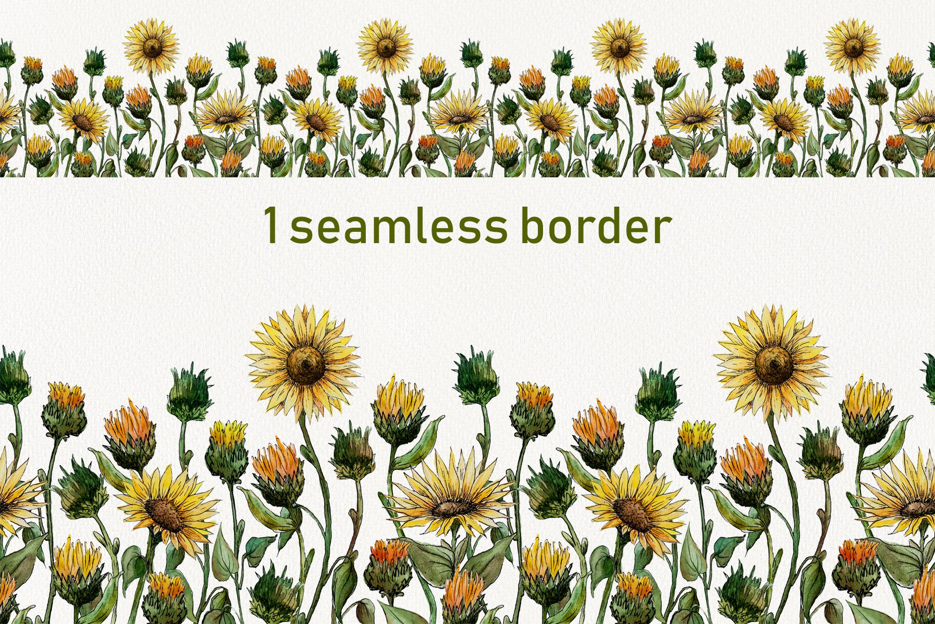 Watercolor Sunflower Clipart Collection example image 5